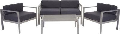 2-1-1 Alu-Garten-Garnitur Krupa, Sitzgruppe Lounge-Set, Holz-Optik Polywood