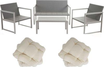 heute wohnen heute-wohnen 2-1-1 Alu-Garten-Garnitur Split, Sitzgruppe Lounge-Set, Poly-Rattan