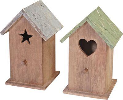 heute wohnen heute-wohnen 2er Set Dekohaus Kamnik, Vogelhäuschen Vogelhaus, Shabby-Look Vintage 23x14x12cm Holz