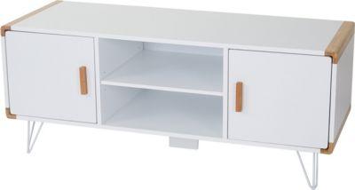 TV-Rack Toledo, Fernsehtisch Lowboard mit Bambus, weiß 120x50x45,5cm