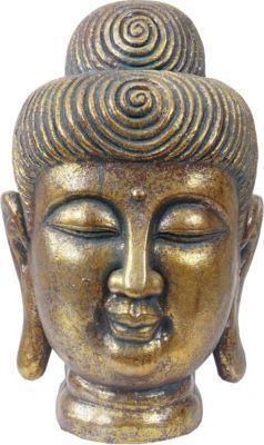 heute wohnen xl deko figur buddha 38cm polyresin skulptur kopf in outdoor gold baumarkt xxl. Black Bedroom Furniture Sets. Home Design Ideas