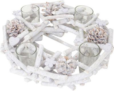 heute-wohnen Adventskranz rund mit Teelichthaltern, Weihnachtsdeko Adventsgesteck, Holz Ø 30cm | Weihnachten > Adventskranz und Weinachtsleuchter | heute-wohnen