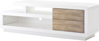 MCA TV-Rack Cosima, Lowboard Fernsehtisch mit Schubladen, hochglanz weiß 45x142x40cm