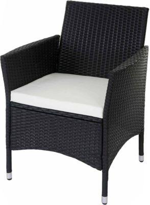 heute wohnen heute-wohnen 2x Poly-Rattan Korbstuhl Modica, Gartenstuhl Sessel mit Sitzkissen, anthrazit