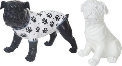 heute wohnen heute-wohnen 2er Set Deko Figuren Bulldogge, Skulptur Hund, In-/Outdoor