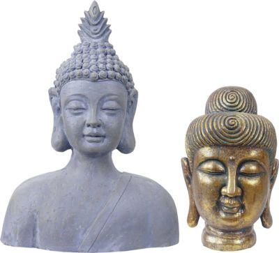 heute wohnen heute-wohnen 2er Set Deko Figur Buddha 38cm+60cm, Polyresin Skulptur, In-/Outdoor