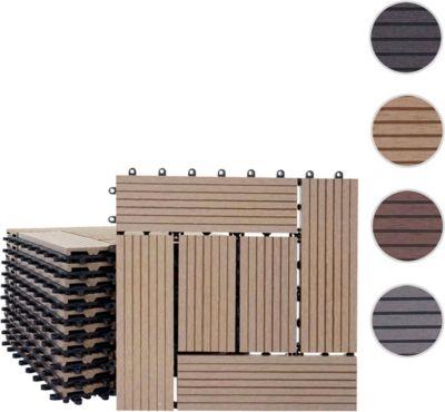 heute wohnen heute-wohnen WPC Holz-Fliese Rhone, Bodenfliesen Balkon Terrasse, 11 Stück je 30x30cm = 1qm