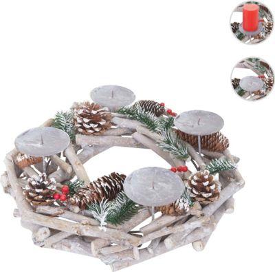 heute-wohnen Adventskranz rund, Weihnachtsdeko Tischkranz, Holz Ø 35cm weiß-grau | Weihnachten > Adventskranz und Weinachtsleuchter | heute-wohnen