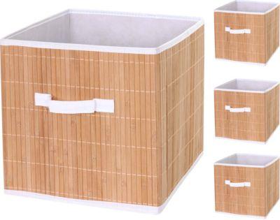 heute-wohnen 4x Faltbox HWC-C21, Korb Aufbewahrungskorb Ordnungsbox Sortierbox Aufbewahrungsbox, Bambus 32x32x32cm naturfarben | Dekoration > Aufbewahrung und Ordnung > Kästchen | Bambus | heute-wohnen