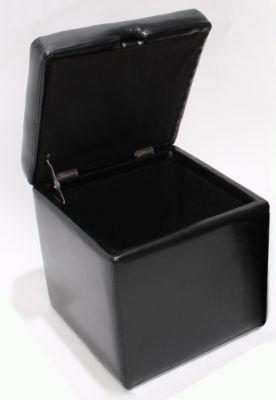 Hocker Sitzwürfel Sitzhocker Aufbewahrungsbox Onex, mit Deckel, LEDER, 45x44x44cm