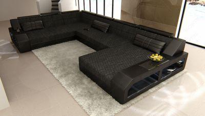 Sofa Dreams Berlin Stoff Wohnlandschaft im Materialmix MATERA XXL