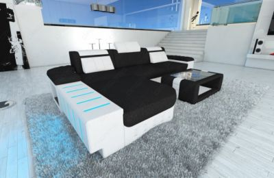 Leder Stoff Couch BELLAGIO L-Form mit LED Beleuchtung