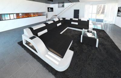 Sofa Dreams Designer Stoff Wohnlandschaft PALERMO XL LED