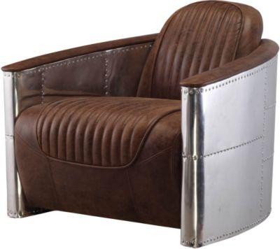 Sessel aus Weißblech / Kunstleder Antikbraun