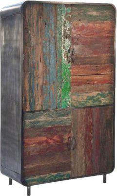 Schrank aus recyceltem Massivholz und Metall
