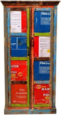 Schrank aus recyceltem Massivholz Bunt