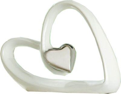 Porzellanherz weiß platin