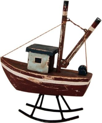 Deko Fischerboot aus Holz in Braun Weiß Blau