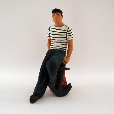 Deko Figur Seemann mit Anker handbemalt