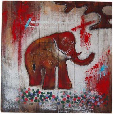 Wandbild 70x70 cm mit Motiv Elefant