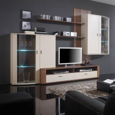 wim wohnwand goa in nussbaum creme preis bild rating vorlieben kommentare. Black Bedroom Furniture Sets. Home Design Ideas