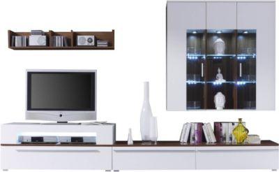 Wohnwand In Weiß Und Walnuss Mit Glas Inkl. Beleuchtung