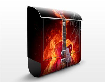 Design Briefkasten Gitarre in Flammen 39x46x13c...