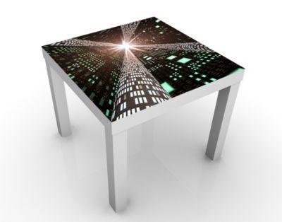 Design Tisch Information Highway 55x45x55cm Beistelltisch, Couchtisch, Motiv-Tisch, Jugendzimmer, Modern, Computer, Information, Technologie, Geschwin