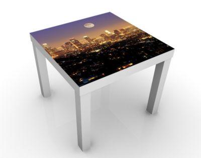 Design Tisch L.A. Nights 55x45x55cm Beistelltisch, Couchtisch, Motiv-Tisch, Wohnzimmer, Amerika, USA, Los Angeles, Skyline, Mond