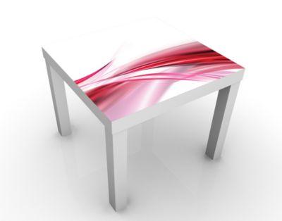 Design Tisch Pink Dust 55x45x55cm Beistelltisch, Couchtisch, Motiv-Tisch, Wohnzimmer, Wellen, Bogen, Schleier, Rosa, Kurve