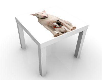 Design Tisch Bull Terrier And Friend 55x45x55cm Beistelltisch, Couchtisch, Motiv-Tisch, Wohnzimmer, Dogge, Kampfhund, Pitbull, Hund, Tier