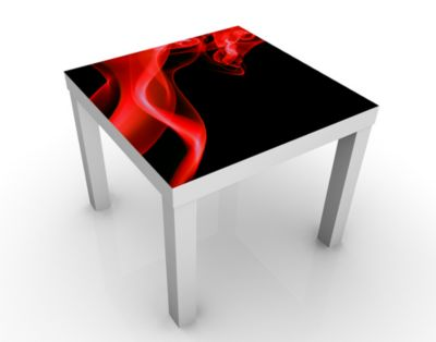 Design Tisch Magical Flame 55x45x55cm Beistelltisch, Couchtisch, Motiv-Tisch, Wohnzimmer, Rauch, Qualm, Rot, Flamme, Brennen