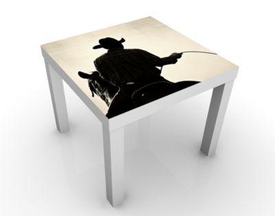 Design Tisch Riding Cowboy 55x45x55cm Beistelltisch, Couchtisch, Motiv-Tisch, Wohnzimmer, Cowboy, Pferde, Wilder Westen, Schatten, Texas