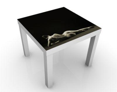 Design Tisch Liegender Frauenakt 55x45x55cm Beistelltisch, Couchtisch, Motiv-Tisch, Schlafzimmer, Frau, Nackt, Grau, Erotik, Leidenschaft