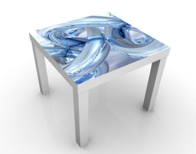 Design Tisch Frosty Chains 55x45x55cm Beistelltisch, Couchtisch, Motiv-Tisch, Jugendzimmer, 3D, Digitale Kunst, Abstrakt, Ketten, Eis