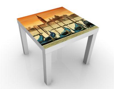 Design Tisch Gondeln in Venedig 55x45x55cm Beistelltisch, Couchtisch, Motiv-Tisch, Wohnzimmer, Italien, Wasser, Kanal, Boot, Lagune