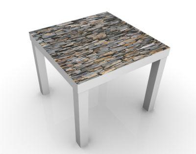 Design Tisch Grand Graphite Stones 55x45x55cm Beistelltisch, Couchtisch, Motiv-Tisch, Wohnzimmer, Natur, Stein, Brocken, Mauer, Grau