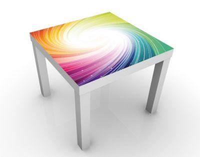 Design Tisch Kaleidoscope 55x45x55cm Beistelltisch, Couchtisch, Motiv-Tisch, Wohnzimmer, Bunt, Regenbogen, Strudel, Sterne, Glitzer