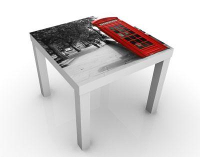 Design Tisch Telephone 55x45x55cm Beistelltisch, Couchtisch, Motiv-Tisch, Wohnzimmer, Telefonzelle, Anrufen, Rot, Verbindung, Austausch
