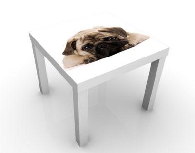 Design Tisch Kuscheliger Mops 55x45x55cm Beistelltisch, Couchtisch, Motiv-Tisch, Wohnzimmer, Treu, Hund, Welpe, Niedlich, Baby