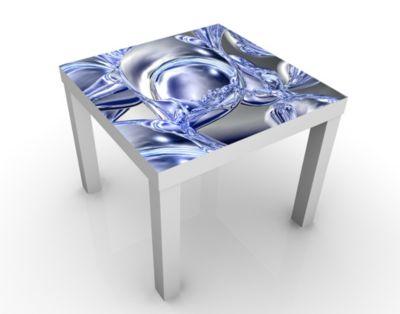 Design Tisch Liquid Smoke 55x45x55cm Beistelltisch, Couchtisch, Motiv-Tisch, Wohnzimmer, 3D, Digital Kunst, Abstrakt, Linien, Wellen