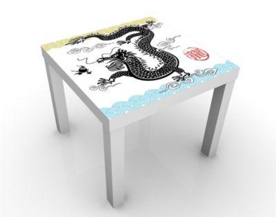 Design Tisch Asiatischer Drache 55x45x55cm Beistelltisch, Couchtisch, Motiv-Tisch, Wohnzimmer, Tattoo, Wolken, Tusche, Fantasie, Drachen
