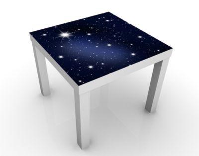 Design Tisch Stars 55x45x55cm Beistelltisch, Couchtisch, Motiv-Tisch, Schlafzimmer, Himmel, Blau, Universum, Sterne, Luft
