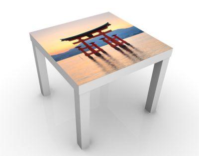 Design Tisch Torii am Itsukushima 55x45x55cm Beistelltisch, Couchtisch, Motiv-Tisch, Esszimmer, Asien, Wasser, Japan, Architektur, Kultur