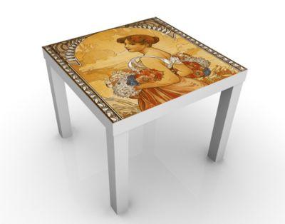 Design Tisch Miss Summer 55x45x55cm Beistelltisch, Couchtisch, Motiv-Tisch, Wohnzimmer, Jugendstil, Kunst, Gemaelde, Nostalgie, Blumen