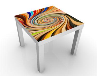 Design Tisch Crazy Dimension 55x45x55cm Beistelltisch, Couchtisch, Motiv-Tisch, Kinderzimmer, Bunt, Regenbogen, Digitale Kunst, Strudel, Modern