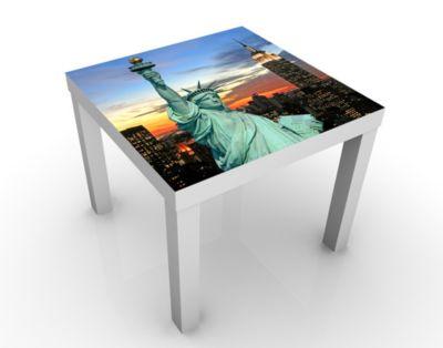 Design Tisch New York At Night 55x45x55cm Beistelltisch, Couchtisch, Motiv-Tisch, Wohnzimmer, Big Apple, Nacht, Freiheitsstatue, Sonnenuntergang, USA