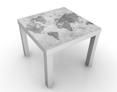 Design Tisch Vintage Weltkarte II 55x45x55cm Beistelltisch, Couchtisch, Motiv-Tisch, Wohnzimmer, Erde, Kontinente, Landkarte, Pergament, Atlas