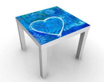 Design Tisch Terra Azura 55x45x55cm Beistelltisch, Couchtisch, Motiv-Tisch, Wohnzimmer, Liebe, Romantik, Herzen, Blume, Blau