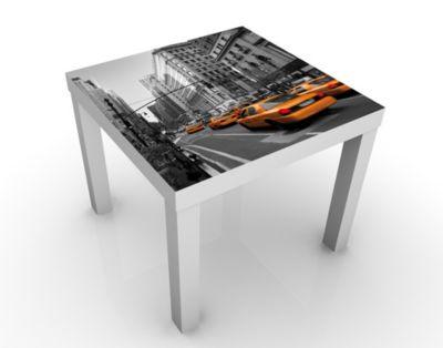 Design Tisch New York, New York! 55x45x55cm Beistelltisch, Couchtisch, Motiv-Tisch, Wohnzimmer, USA, Manhattan, Amerika, Taxis, Stadt
